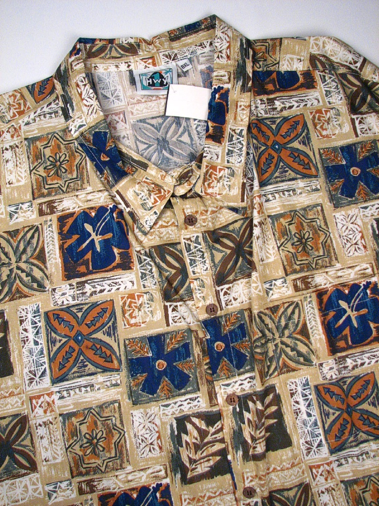 #001182. 7XL BIG. KHAKI Retail $  75.00 Short Sleeve Tropical by HIGHWAY ONE. TROPICAL PRINT Whs A:  1