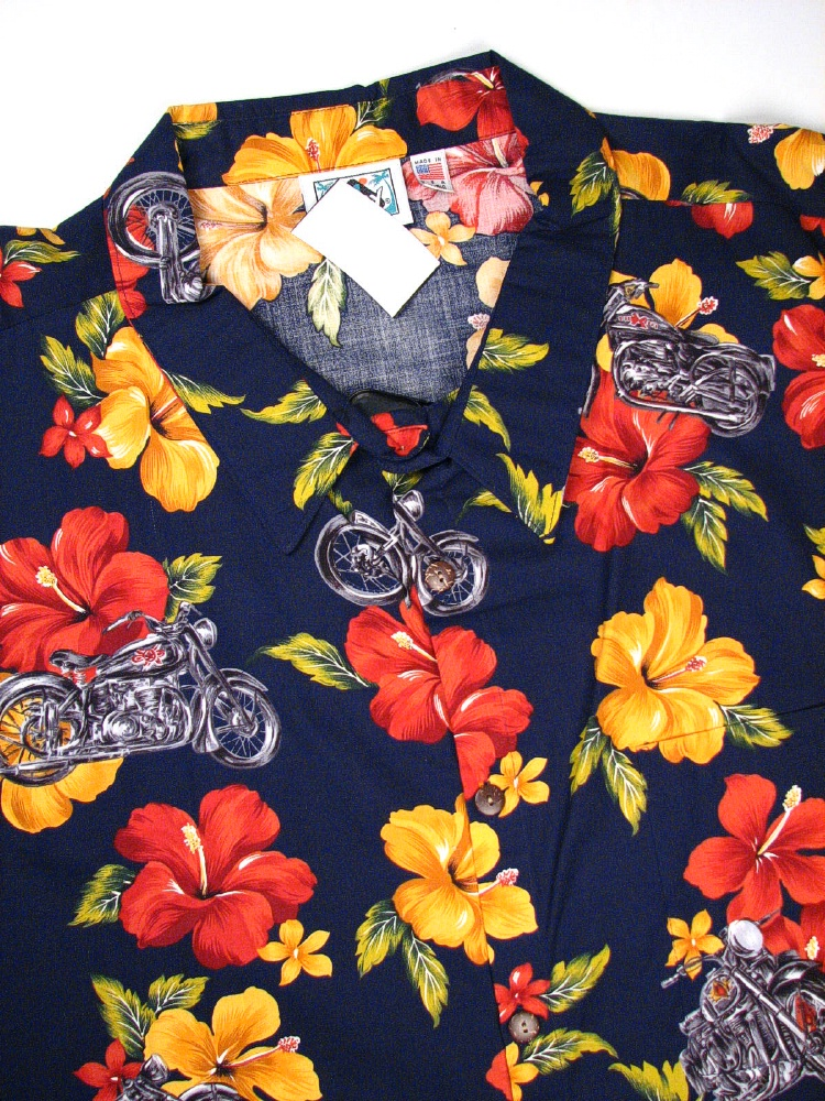 #017482. 8XL BIG. NAVY Retail $  75.00 Short Sleeve Tropical by HIGHWAY ONE. TROPICAL PRINT Whs A:  1