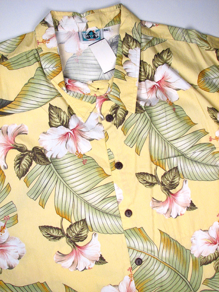 #108029. 8XL BIG. YELLOW Retail $  75.00 Short Sleeve Tropical by HIGHWAY ONE. TROPICAL PRINT Whs A:  1