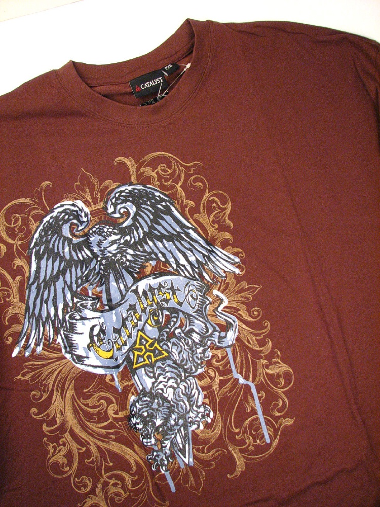 #000969. 2XL BIG. BROWN Retail $  25.00 Short Slv Graphic Tee by CATALYST. EAGLE TEE SHORT SLV Whs A:  1
