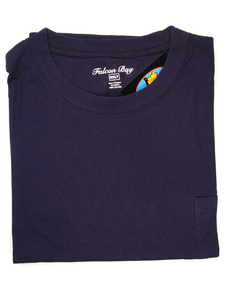 #035257. 6XL BIG. NAVY TAGLESS POCKET TEE Short Sleeve Tee by FALCON BAY. Whs A:  3 FBA:  4