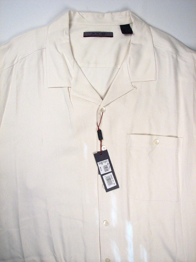 #184562. 5XL TALL. IVORY Retail $  65.00 Short Sleeve Updated by AXIS. SILK CAMP SHORT SLV Whs A:  2