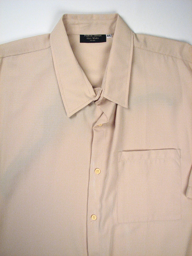 #100429. 5XL TALL. KHAKI Retail $  65.00 Short Sleeve Tropical by FULTON STREET. MICROFIBER CAMP S.S. Whs A:  1