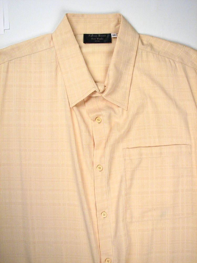 #039479. 5XL TALL. CREAM Retail $  65.00 Short Sleeve Tropical by FULTON STREET. MICROFIBER CAMP S.S. Whs A:  1