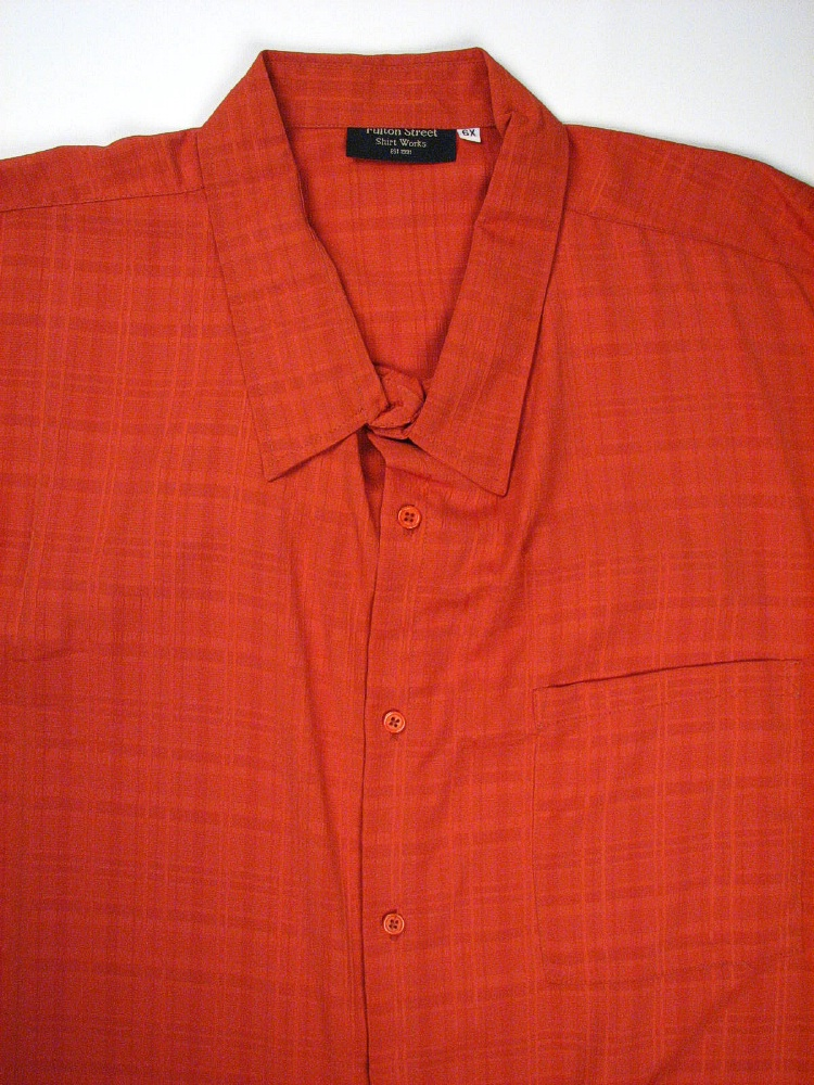 #044266. 5XL TALL. RUST Retail $  65.00 Short Sleeve Tropical by FULTON STREET. MICROFIBER CAMP S.S. Whs A:  1