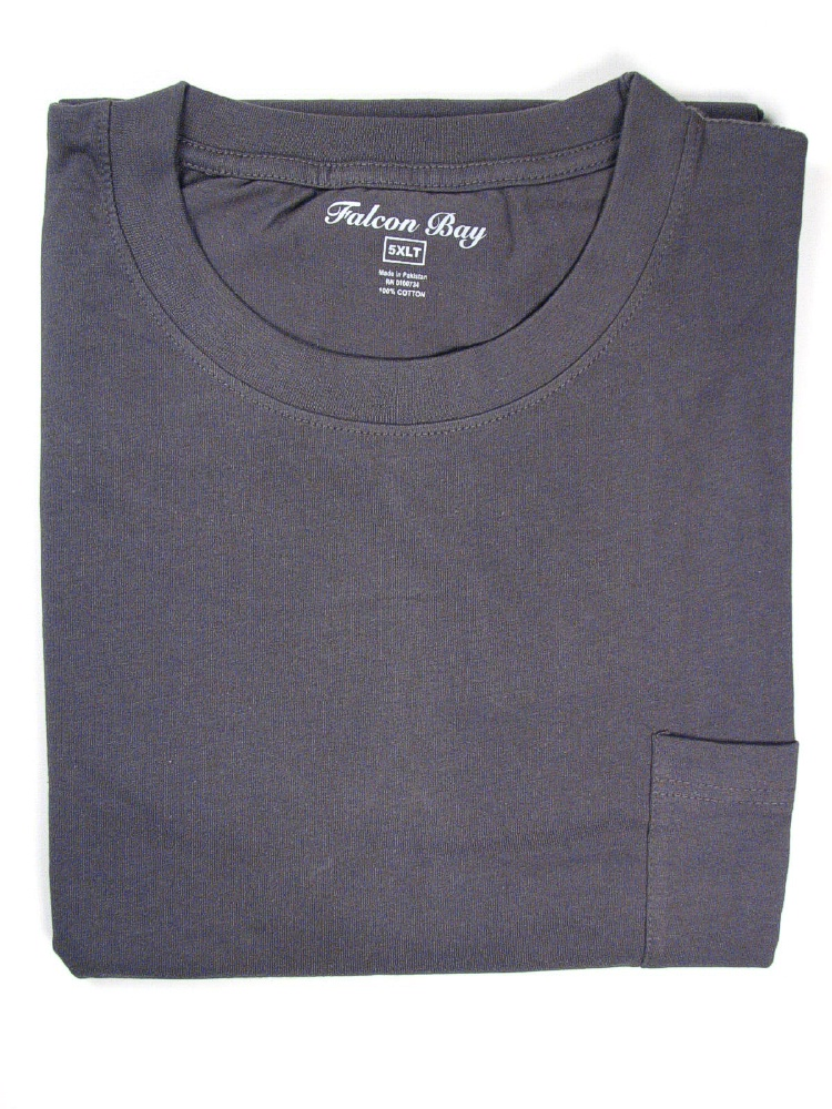 #149208. 6XL BIG. CHARCOAL TAGLESS POCKET TEE Short Sleeve Tee by FALCON BAY. Whs A:  1 FBA:  2