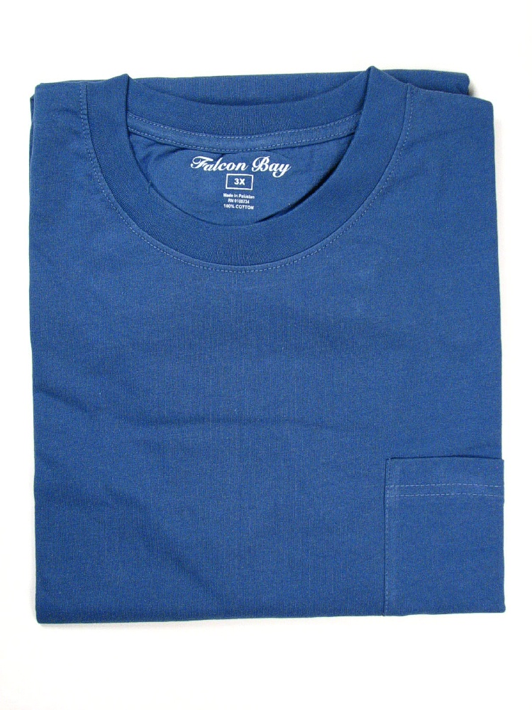 #049708. 6XL TALL. FR BLUE TAGLESS POCKET TEE Short Sleeve Tee by FALCON BAY. Whs A:  4