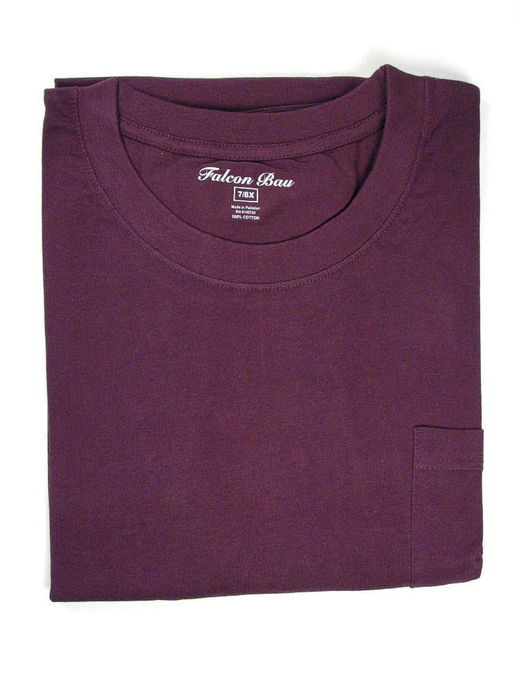 #141031. 8XL BIG. PLUM TAGLESS POCKET TEE Short Sleeve Tee by FALCON BAY. Whs A:  2