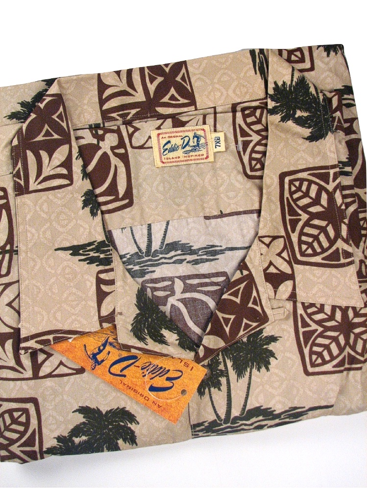 #040581. 7XL BIG. MOCHA Retail $  74.50 Short Sleeve Tropical by EDDIE D. HAWAIIAN PRINT