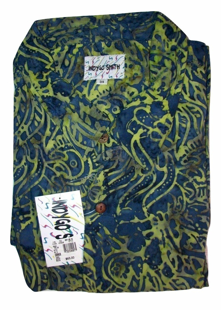 #012742. 4XL BIG. AQUA Retail $  65.00 Short Sleeve Tropical by INDYGO SMITH. TROPICAL RAYON PRINT Whs A:  3