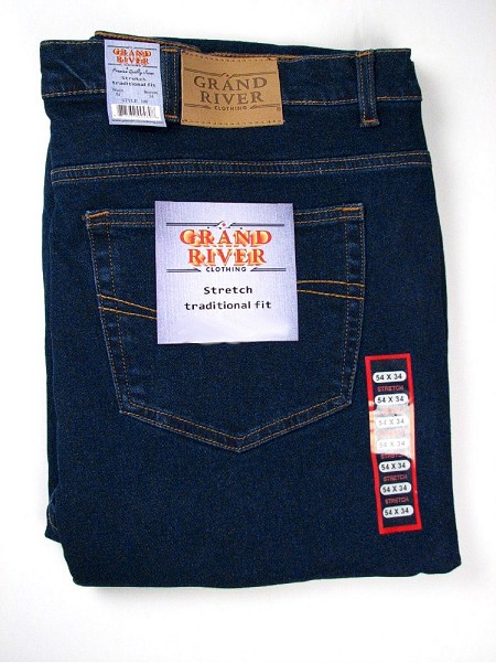 #065243. 76 32. BLUE Retail $  79.00 Stretch Jean by GRAND RIVER. STRETCH DENIM JEAN <font face=arial size=2><BR>Special Order Item.</font> <B>Item stocked by River Road.  Allow an extra 5 days for handling.</B>