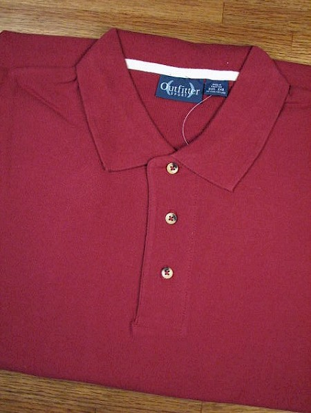 #082350. L TALL. WINE Retail $  32.00 Short Sleeve by OUTFITTER. PIQUE POLO NON-POCKET Whs A:  4