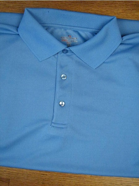 #148333. XL TALL. BLUE Retail $  36.00 Dri Power Polo by RUSSELL. DRI-POWER SOLID POLO Whs A:  1