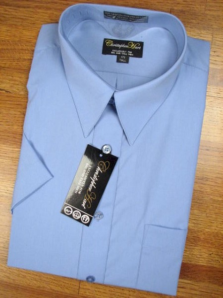 #074096. 18.0 TALL. FR BLUE Retail $  35.00 Short Sleeve Dress Shirts by CHRISTOPHER HART. COMFORT COLLAR BCLOTH Whs A:  7