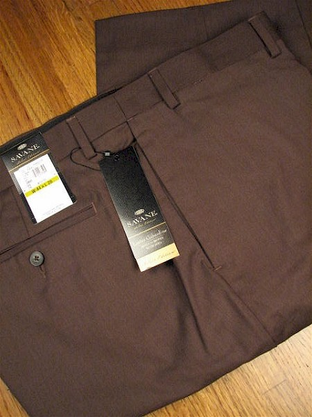#036564. 54 32. HT BROWN Retail $  72.00 Dress Pants by SAVANE. HIGH TWIST FLAT FRONT Whs A:  3