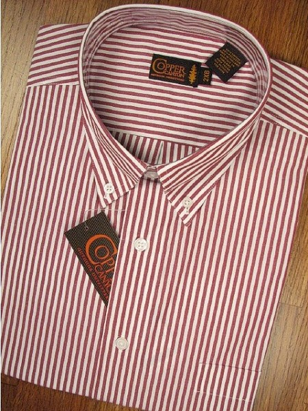#087003. XL TALL. RED Retail $  50.00 Short Sleeve BD/BU by COPPER COVE. 1-POCKET BENGAL STRP Whs A:  1