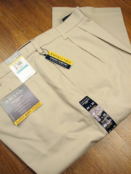 #031189. 44 28. STONE Retail $  75.00 Cotton Casual Pants by SAVANE. PLEAT EXPAND WAIST Whs A:  1