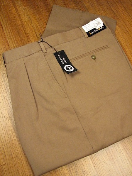 #083836. 52 REG. CAMEL Retail $  69.00 Dress Pants by JONATHAN QUALE. EXPANDER GAB PLEAT Whs A:  1   <br><b>This item requires hemming.