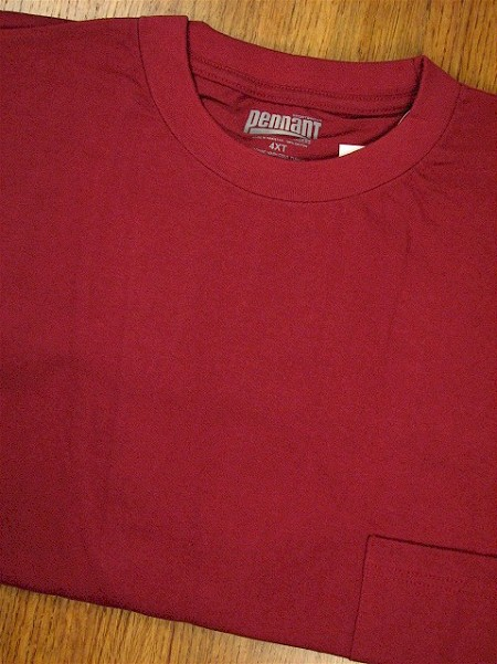 #156480. 4XL BIG. WINE Retail $  18.00 Short Sleeve Tee by PENNANT SPORT. PREMIUM POCKET TEE Whs A: 20