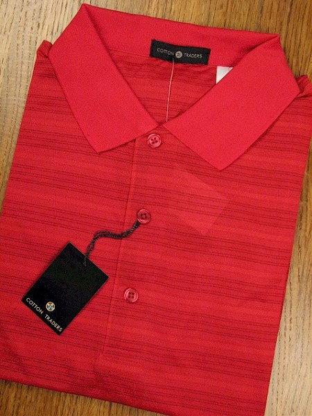 #132507. L TALL. RED Retail $  44.00 Short Sleeve Stay Dry by CTTON TRADERS. TECH HORIZONTAL TEXTR Whs A:  3
