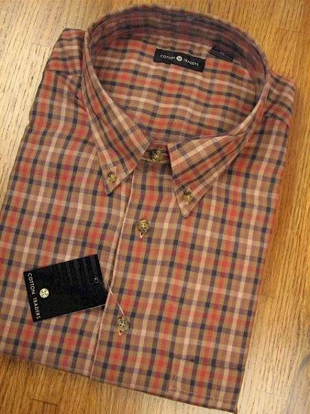 #118198. 2XL BIG. RUST Retail $  49.00 Long Sleeve Cotton by CTTON TRADERS. SMALL PLAID Whs A:  3