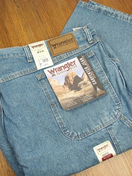 #038571. 52 30. BLUE Retail $  46.00 Cotton Jean by WRANGLER. CARPENTER JEAN Whs A:  2