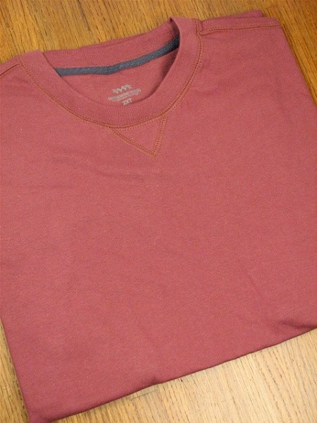 #035132. 2XL BIG. WINE Retail $  25.00 Short Slv No Pocket by WHITE MOUNTAIN. VINTAGE CREW TEE Whs A:  1