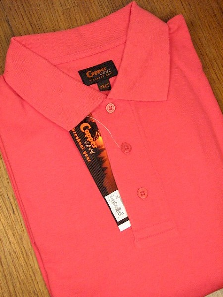 #122579. 3XL TALL. CORAL Retail $  55.00 Short Sleeve by COPPER COVE. FASHION INTERLOCK Whs A:  1