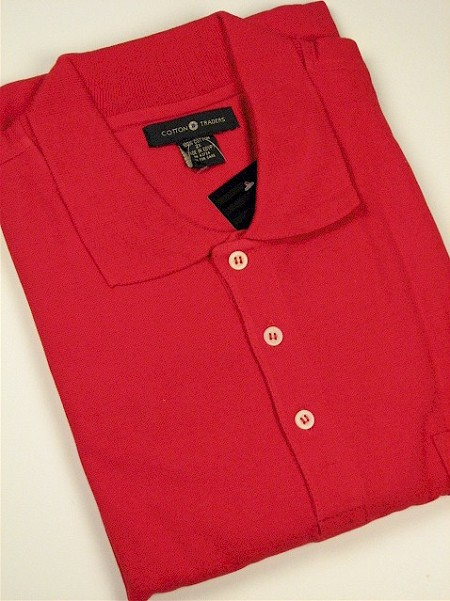 #044068. L TALL. RED Retail $  34.00 Short Sleeve Pocket by CTTON TRADERS. SOLID POCKET PIQUE Whs A:  2