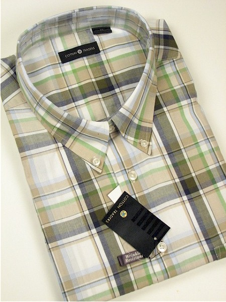 #155216. 2XL BIG. OLIVE Retail $  46.00 Short Sleeve by CTTON TRADERS. WRINKLE RESIST PLAID Whs A:  1