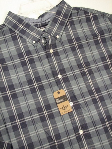 #184438. 4XL BIG. TEAL Retail $  65.00 Long Sleeve Cotton by DOCKERS. AMERICANA PLAID Whs A:  1