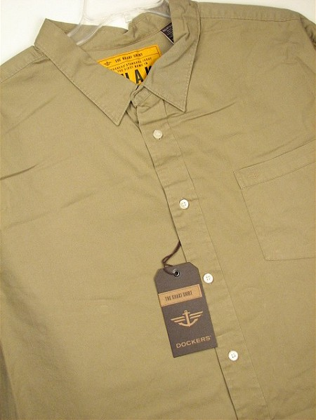 #092340. 3XL TALL. KHAKI Retail $  65.00 Long Sleeve Cotton by DOCKERS. SOLID TWILL Whs A:  1