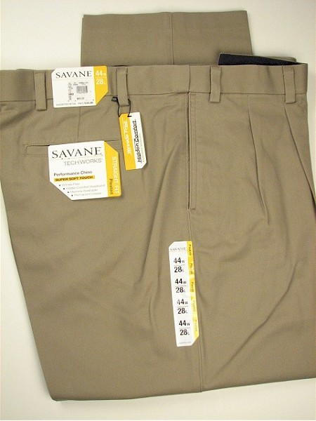 #067388. 60 30. KHAKI Retail $  75.00 Cotton Casual Pants by SAVANE. PLEAT EXPAND WAIST Whs A:  6