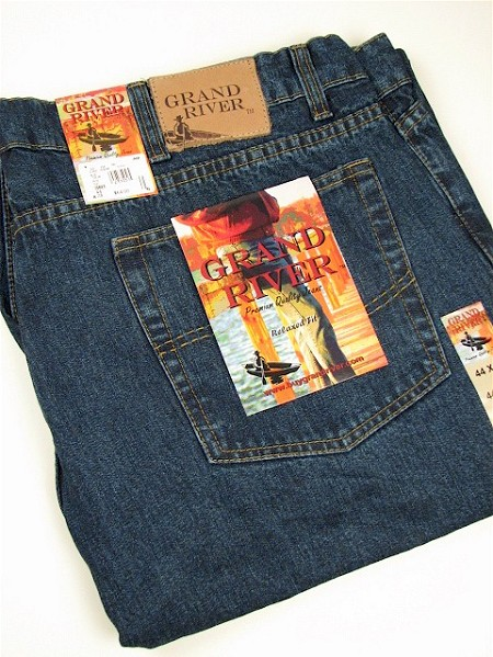 #127206. 50 32. BLUE Retail $  64.00 Cotton Jean by GRAND RIVER. RINGSPUN RELAXED FIT <font face=arial size=2><BR>Special Order Item.</font> <B>Item stocked by River Road.  Allow an extra 5 days for handling.</B>