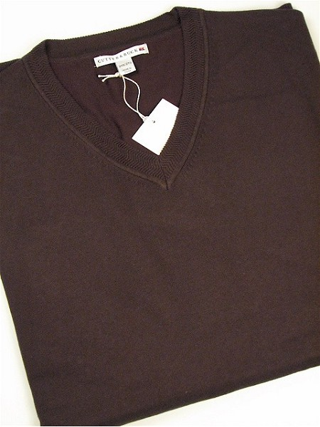 #166669. 4XL TALL. CHOCOLAT Retail $  98.00 Sweaters by CUTTER BUCK. MERIDIAN V-NECK Whs A:  1