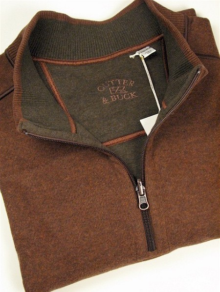 #039859. 2XL BIG. RUST Retail $ 120.00 Long Sleeve by CUTTER BUCK. ESSEX HALF-ZIP Whs A:  2