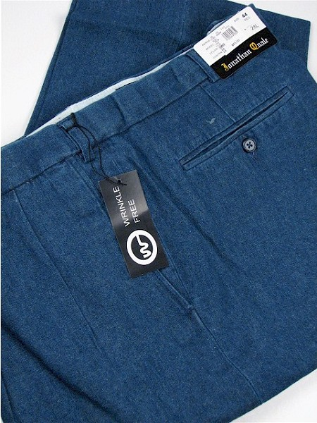 #021409. 60 28. DENIM Retail $  74.00 Cotton Casual Pants by JONATHAN QUALE. PLEAT XPAND WRNKLFREE Whs A:  1