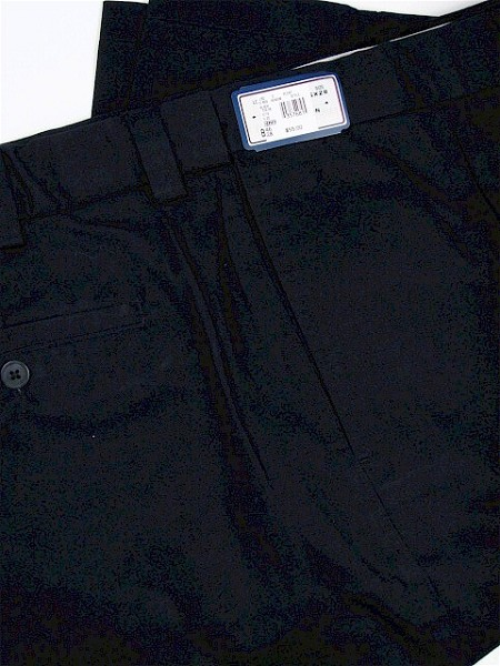 #003230. 38 38. BLACK Retail $  55.00 Cotton Casual Pants by FAMOUS MAKER. PLEAT EXTEND-A-WAIST Whs B:  1