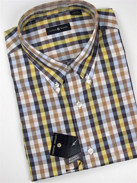 #184249. XL TALL. MAIZE Retail $  46.00 Short Sleeve by CTTON TRADERS. WRINKLE RESIST PLAID Whs A:  2