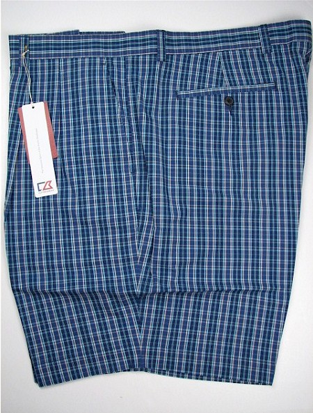 #083120. 56 . NAVY Retail $  95.00 Shorts by CUTTER BUCK. TIDAL PLAID PLEAT Whs A:  1
