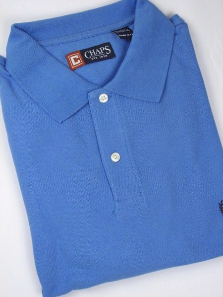 #089557. 2XL BIG. BLUE Retail $  47.50 Short Sleeve by CHAPS. SOLID PIQUE POLO Whs A:  1