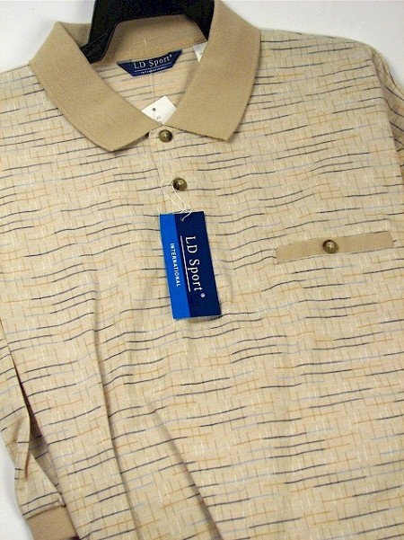 #161035. 6XL BIG. SAND Retail $  49.00 Short Sleeve by LD SPORT. KC HORIZ JACQUARD Whs A:  1