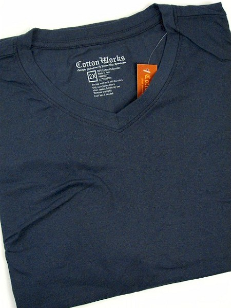 #055675. 2XL BIG. BLUE Retail $  28.00 Short Slv No Pocket by COTTON WORKS. SPANDEX V-NECK TEE Whs A:  1