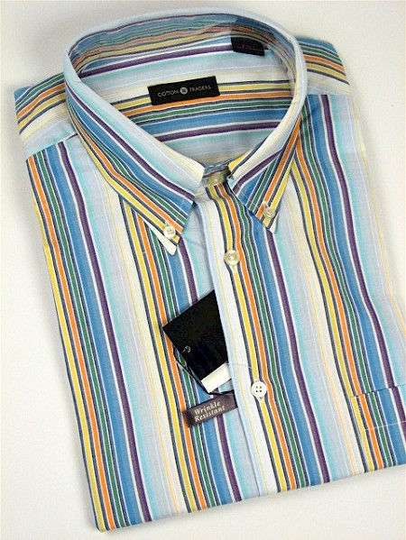 #118710. 4XL TALL. BLUE Retail $  48.00 Short Sleeve by CTTON TRADERS. WRINKLE RESIST STRIPE Whs A:  2