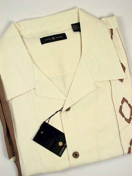 #038526. 4XL TALL. MOCHA Retail $  75.00 Short Sleeve Updated by CTTON TRADERS. SILK IVORY PANEL Whs A:  1