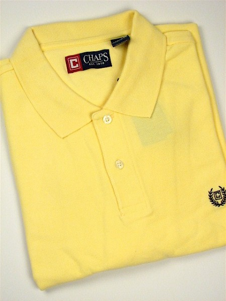#003692. XL TALL. YELLOW Retail $  47.50 Short Sleeve by CHAPS. SOLID PIQUE POLO Whs A:  1