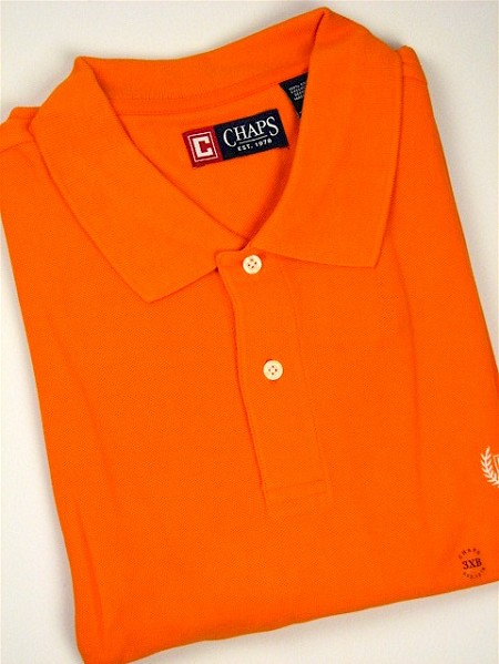 #131618. 2XL TALL. ORANGE Retail $  47.50 Short Sleeve by CHAPS. SOLID PIQUE POLO Whs A:  1