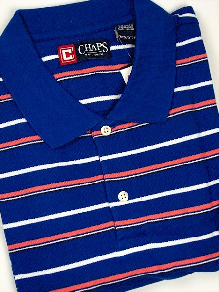 #131670. XL TALL. ROYAL Retail $  54.00 Short Sleeve by CHAPS. PIQUE HORIZ STRIPE Whs A:  1