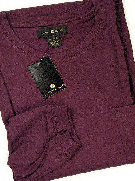 #068231. 5XL TALL. PLUM Retail $  28.00 Long Sleeve Tee by CTTON TRADERS. POCKET TEE LONGSLV Whs A:  1