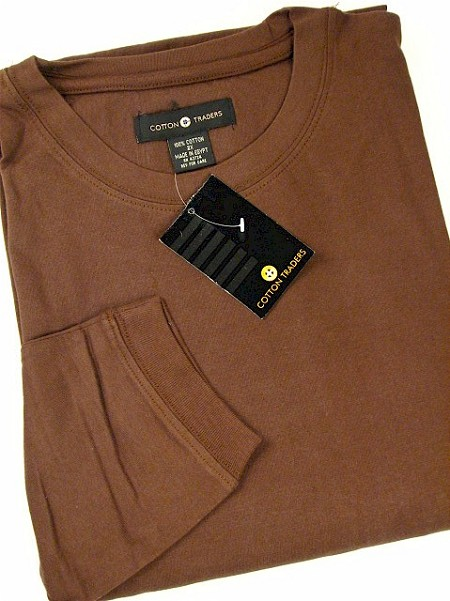 #115074. 5XL TALL. COFFEE Retail $  28.00 Long Sleeve Tee by CTTON TRADERS. POCKET TEE LONGSLV Whs A:  1